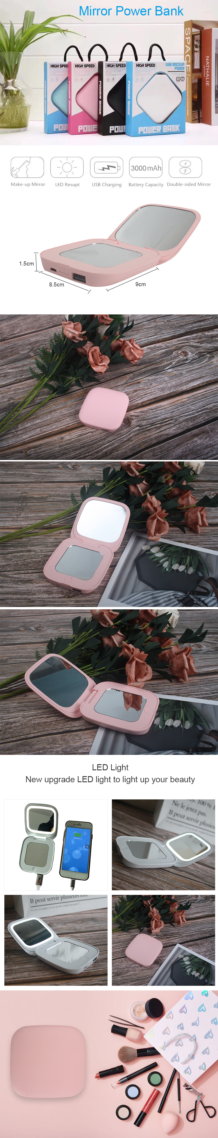 LED Light Makeup Mirror Power Bank